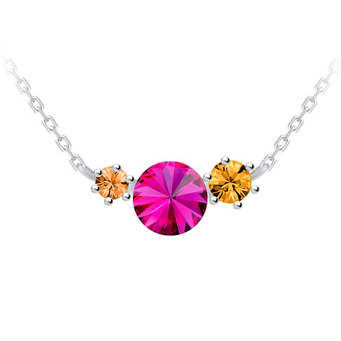 Necklace with fucsia cubic zirkonia stones Sterling silver Aronie