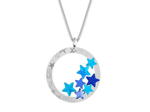 Pendant Virgo Aqua crystal stars azure blue surgical steel 7340 67