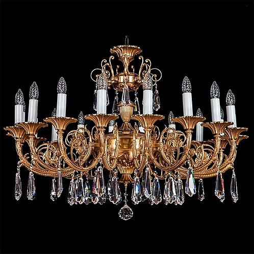"Crystal chandelier ""Berkana L861/18/09"" gold brass finishes"