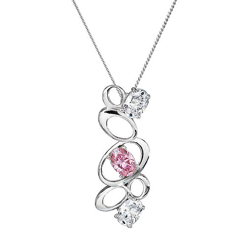 Pendant Appealing Silver Pink Rosa cubic zirconia