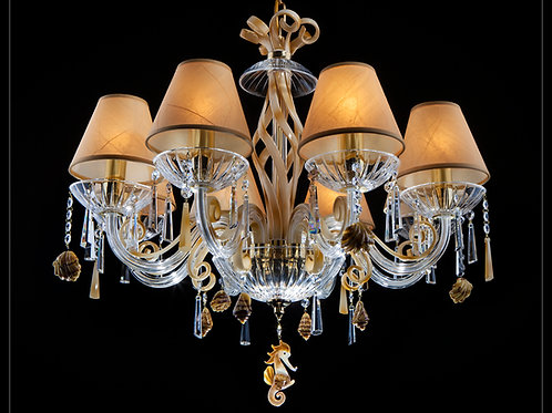 Chandelier modern style custom made silver brass L418/8/703-7 coral N bl