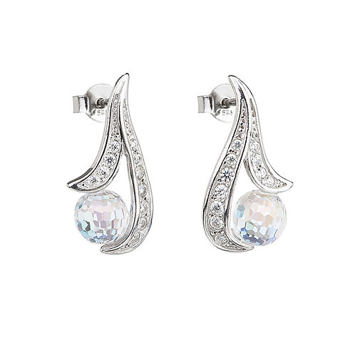 Earrings Gentle Touch silver Ag 925/Rh crystal ball AB