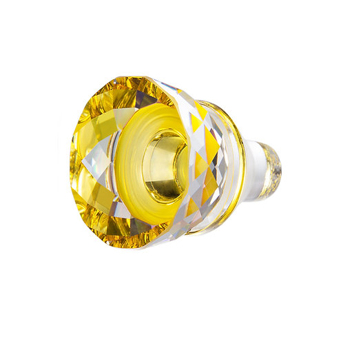 Wine stopper. Ice Flower. Glass stopper. Yellow glass. 1418 59