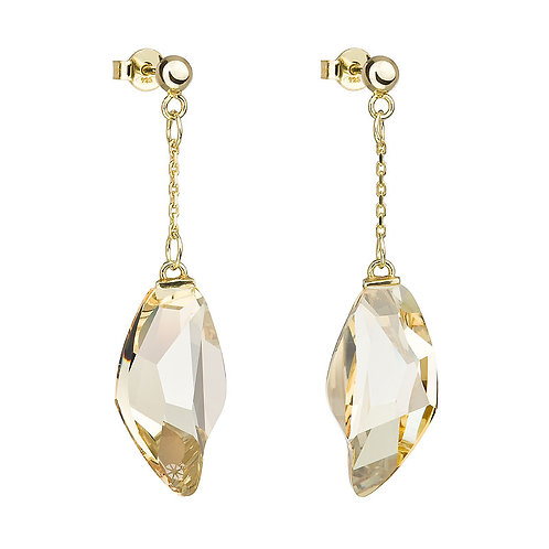 Earrings Crystal Tear gold with big Honey crystal stones 6719 59