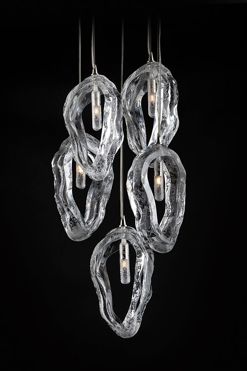Pendant lighting for living room shells on the strings in silver clear crystal