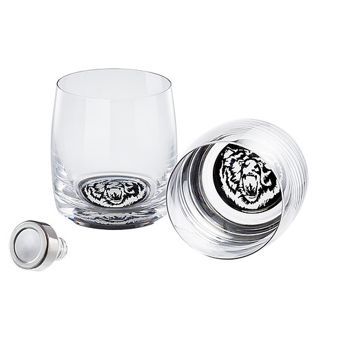 Whisky Set of two glasses. Muzzle of a Bear. Stopper. 1377 40