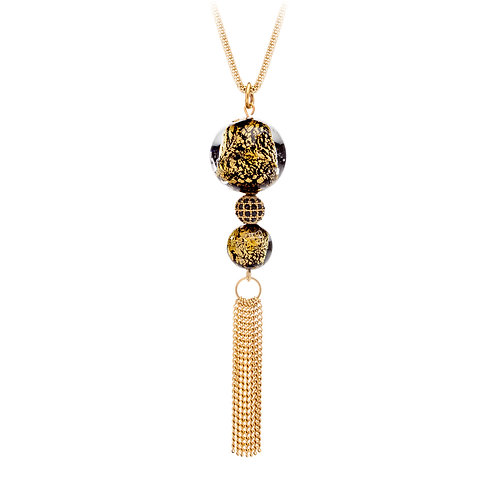 Necklace  stainless steel 24K Gold black stones with long brush