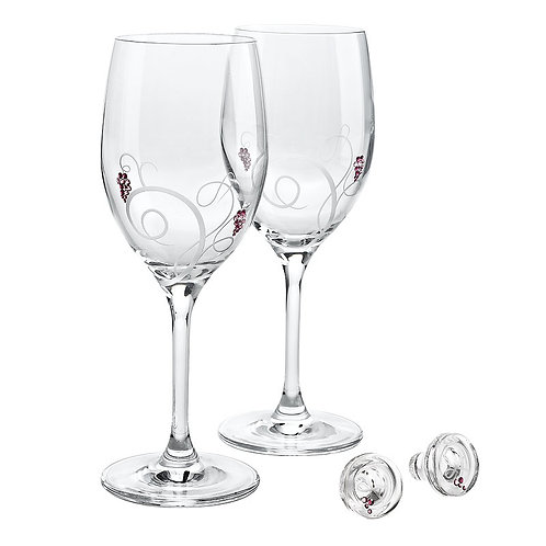 Wine set with stoppers. Two glasses. Inspired. Red. 1331 64