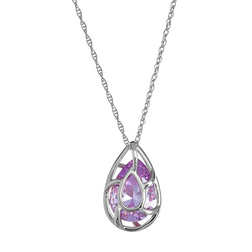 Pendant Enigmatic violet cubic zirconia stone Sterling Silver 5175 56