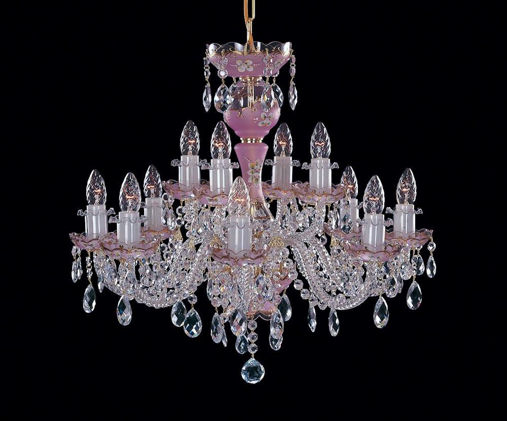 Pink 2 levels crystal chandelier bohemian crystal Prague Berkana USA
