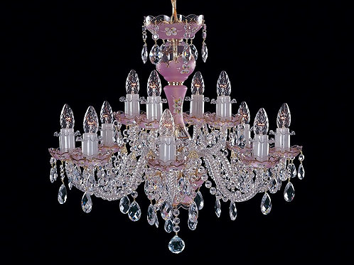 Pink crystal chandelier with 12 lights for any room