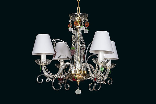Crystal chandelier L416/4/12 S gold with shades