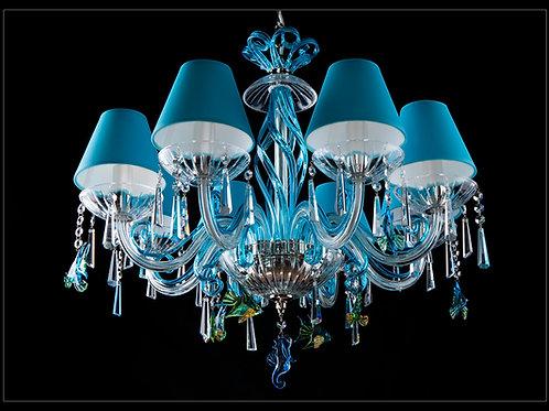 Chandelier modern style custom made silver brass L418/8/303-3 fish N blue shade
