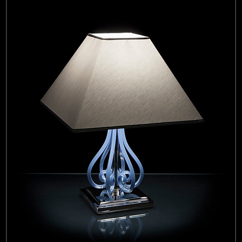 Table lamp S424/1/103/3 N blue ceramic grey shade silver brass finished