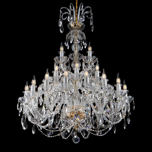 Large crystal chandelier in gold finishes for living room ballroom church
