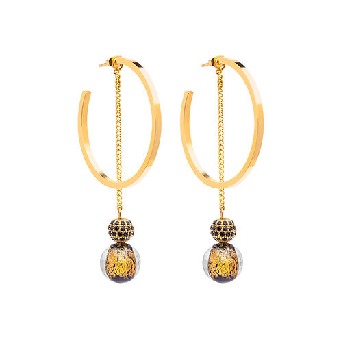 Earring stainless steel 24K Gold rings with  black handmade stones