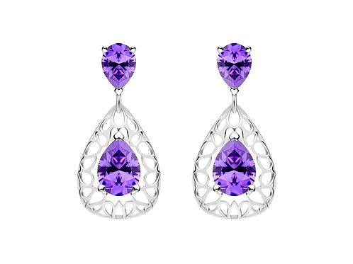 Earrings Lyra Violet cubic zirconia diamond Silver Ag925/Rh 5261 56