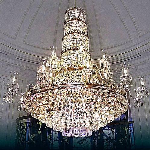 """Oversized chandelier """"Berkana L745/20+78/19"""" gold finishes"""