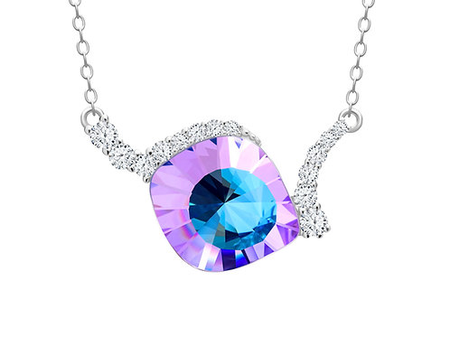 Necklace Pavo cubic zirconia stones pink - blue  Silver AG 925 / Rh 6118 43