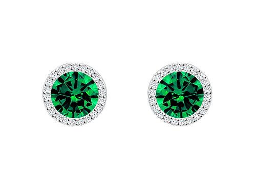 Earrings LYNX Green cubic zirconia stones silver Ag925/Rh 5269 66 Emerald gree