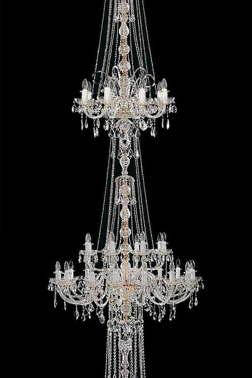 """Long crystal chandelier """"Berkana L117/66/04 N"""" for staircase and dining room"""