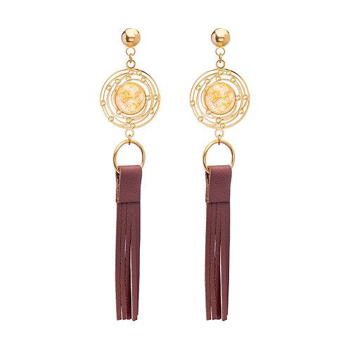 Long brush Earrings Gold White  stainless steel Mays