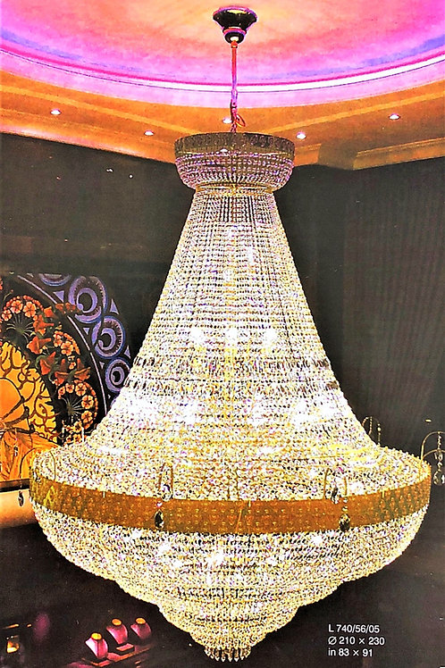 "Oversized chandelier ""Berkana L744/56/02"" gold finished"
