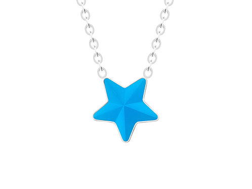 Necklace Virgo Crystal star sky blue surgical steel  7342 67