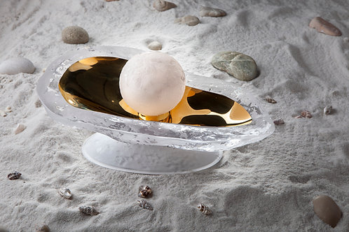 Oyster shell with Pearl Table lamp Sea energy LED lighting handcrafted gold opal
