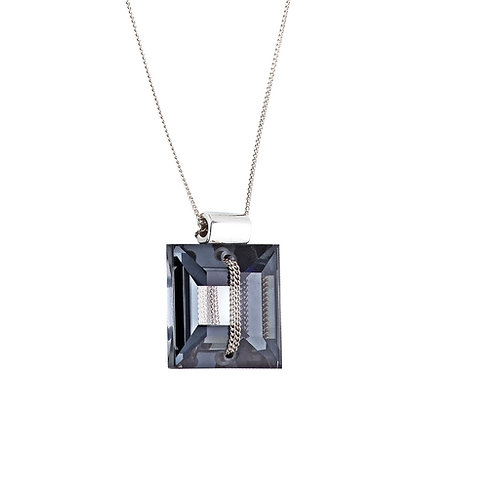 Pendant Crystal secret silver Ag 925/Rh black