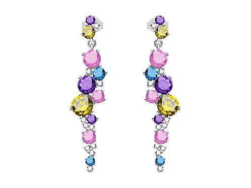 Earrings Flower Silver Ag925 / Rh cubic zirconia multicolor