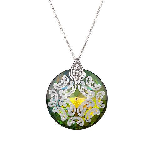 Pendant Crystal Rose I Silver Ag 925/Rh art handmade work vitrail medium
