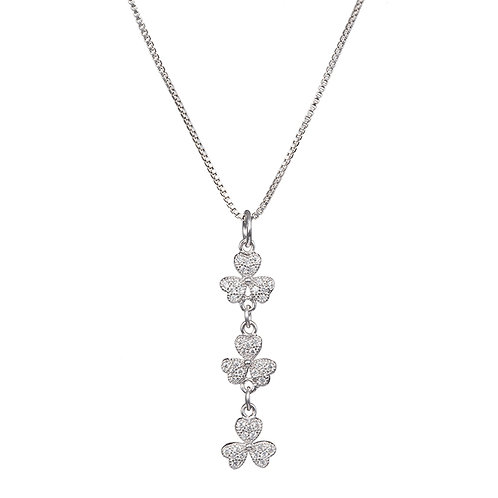 Necklace sterling silver for girls and women Shamrock flower design