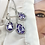 Thumbnail: Earrings hypoallergenic sterling silver with violet cubic zirconia Enigmatic
