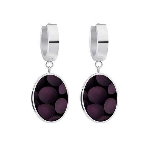 Earrings from stainless steel Delicia Black Matt stones