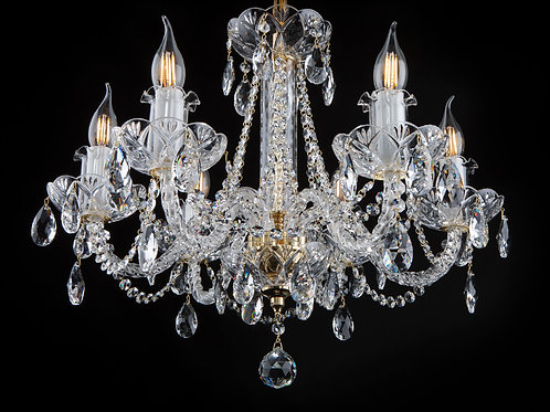 Chandelier clear crystal L108/6/01 gold