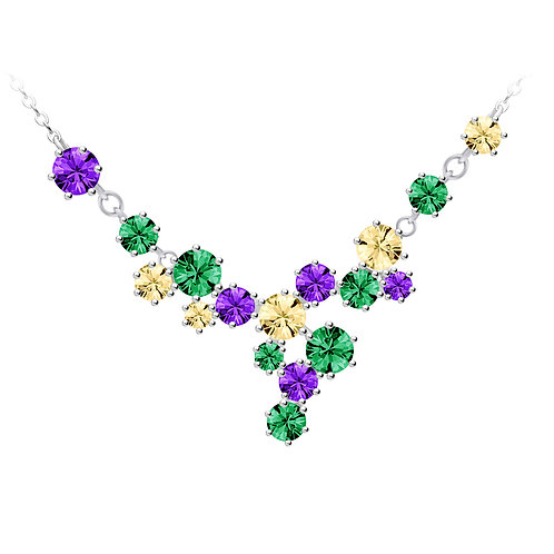 Necklace Vitis sterling silver with cubic zirconia stones of multicolors