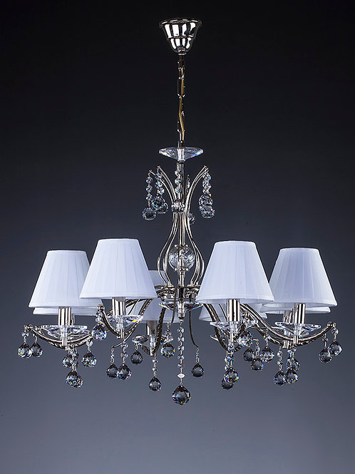 Crystal chandelier Artglass classics Nickel Brass Chantal 8 lamps with shades