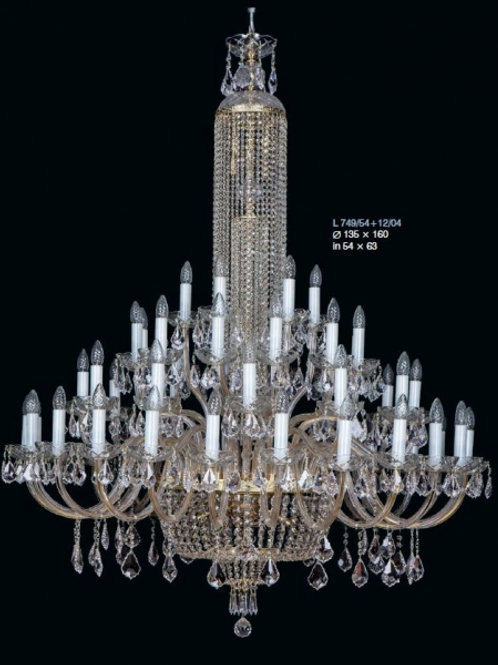 """Large crystal chandeliers """"Berkana L749/54+12/04"""" gold finishes"""