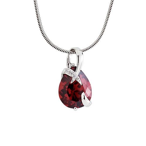 Pendant Dainty Silver Garnet / Red crystal