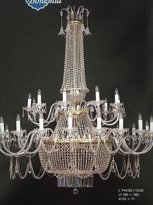 "Large crystal chandelier ""Berkana L744/30+10/02"" brass finishes"
