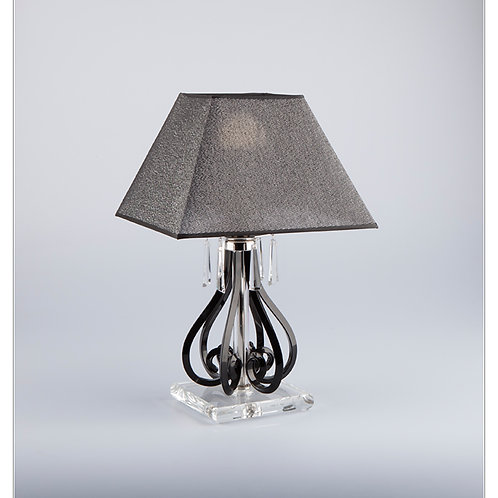 Table lamp S423/1/903/2 N black shade silver brass finished