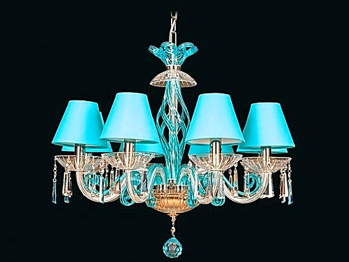 Crystal modern chandelier L418/8/303-3 N sky blue shade
