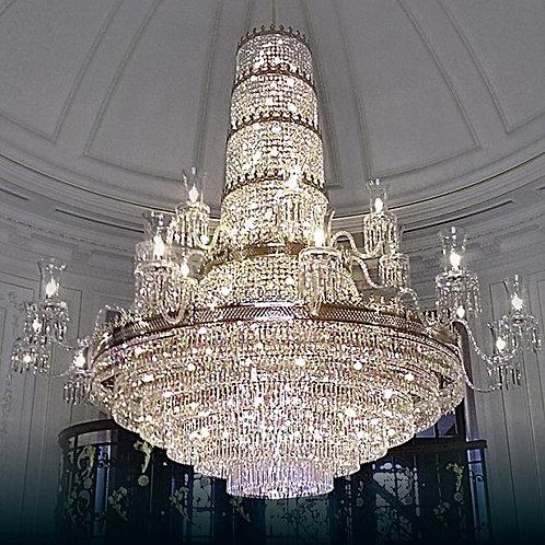 "Oversized chandelier ""Berkana L745/20+78/19"" silver finishes"