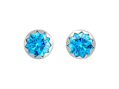 Earrings Vela Light sky blue cubic zirconia diamond Silver