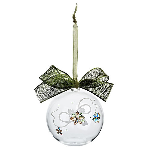 Christmas tree decoration. Crystal ball with the green bow. 1352 70