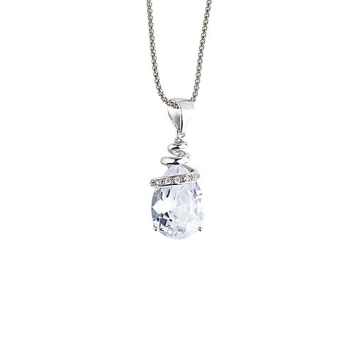 Pendant Elegant silver Ag 925/Rh and clear crystal cubic zirkonia beads