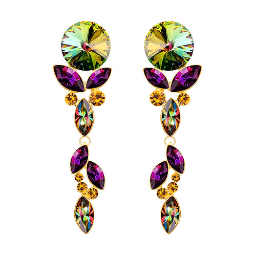 Earring long gold jewelry alloy with cubic zirconia stones