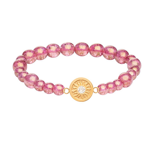 Bracelet pink beads with gold  stainless steel Bohemian crystal Rosina