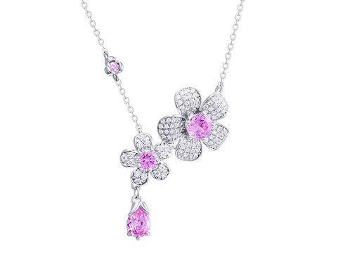 Necklace Clematis Silver Ag925 / Rh Rose cubic zirconia